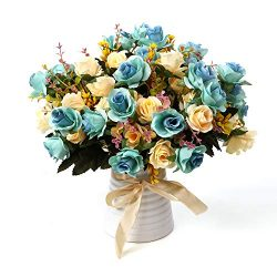 LY EMMET Artificial Rose Bouquets with Ceramics Vase Fake Silk Rose Flowers Decoration for Table ...