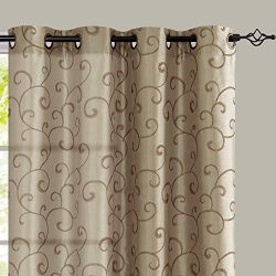 jinchan Curtains Taupe 63 inches Living Room Drapes Faux Silk Dupioni Swirl Embroidery Grommet T ...