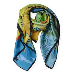 100% Mulberry Silk Green Yellow Blue Van Gogh Oil Painting Scarves Scarfs Wrap Hijab Stole Fashi ...