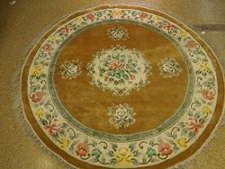 Gold Genuine Handmade 7×7 Aubusson Artificial Silk Thick Round Rug