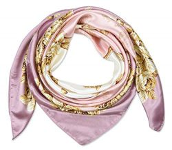 corciova 35″ Women's Polyester Silk Feeling Square Hair Scarf Headscarf Classic Rose ...