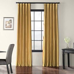 HPD Half Price Drapes PTCH-JTSP404-84 Faux Silk Taffeta Curtain (1 Panel), 50 X 84, Golden Spice
