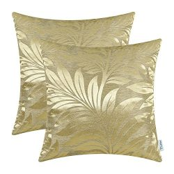CaliTime Pack of 2 Throw Pillow Covers Cases for Couch Sofa Home Decor Shining & Dull Contra ...