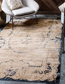 Unique Loom Chateau Collection Distressed Vintage Traditional Textured Cream Area Rug (8′  ...