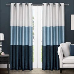 Exclusive Home Curtains Chateau Striped Faux Silk Window Curtain Panel Pair with Grommet Top, 54 ...