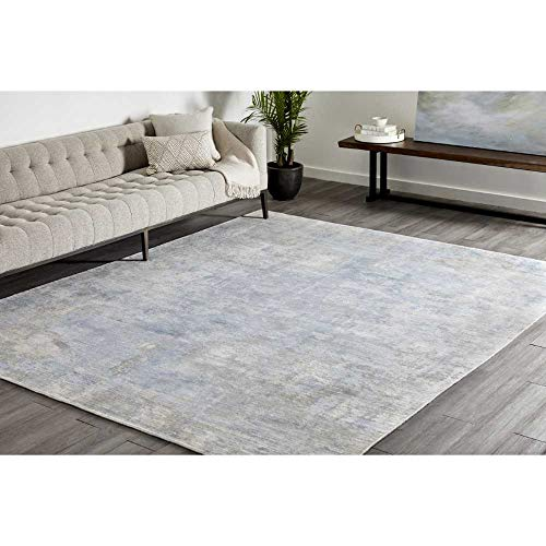 Solo Rugs Denali Loom Knotted Indoor Area Rug, 9′ 0″ x 12′ 0″, Slate