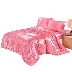 Lucky lover Hotel Quality Pink Duvet Cover Set Queen/Full Size Silk Like Satin Bedding with Hidd ...