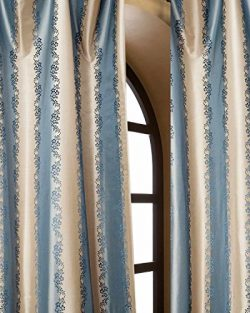 Blue & Gold striped floral silk taffeta bed room window lined curtain panel drape (52″ ...