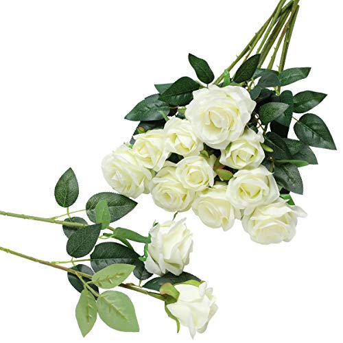 Hawesome 12PCS Artificial Silk Flowers Realistic Roses Bouquet Long Stem for Home Wedding Decora ...