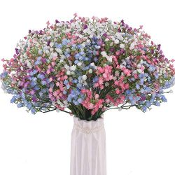 BOMAROLAN Artificial Baby Breath Flowers Fake Gypsophila Bouquets 24 Pcs Fake Real Touch Flowers ...