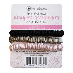 Thin Fashion Designer Silk Scrunchies for Women, Hair Ties, Fashion Nova, Wrist Bands (Black,kha ...