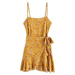 ZAFUL Women's Mini Dress Adjustable Spaghetti Straps Sleeveless Floral Frilled Boho Beach  ...