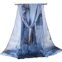 Women's Chiffon Scarf Lightweight Fashion Sheer Scarfs Shawl Wrap Scarves (Blue-A)