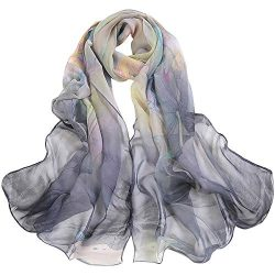 ANJUNIE Women Lotus Printing Lace Designed Women Wrap Shawls Long Soft Scarf Ladies Shawl(Gray,F ...