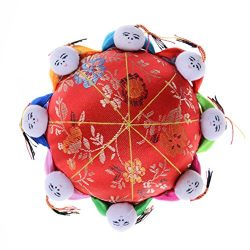 Ujuuu Chinese Style Red Oriental Needle Pin Cushion with 8 Kids