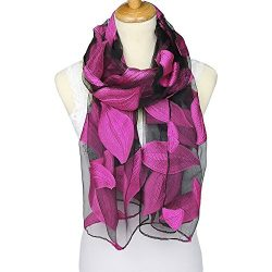 ChikaMika Silk Scarves for Women 100% Silk Scarves Leaves Printing Silk Wrap and Shawls (Purple)