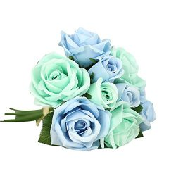 Kinghard 9 Heads Artificial Silk Fake Flowers Leaf Rose Wedding Floral Decor Bouquet (Blue)