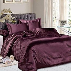 Divine Bedding 3Pc Silk Satin Comforter Set 1-Piece Quilted Box Stitching Comforter with 2 Pillo ...
