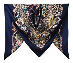 40″ Women Twill Satin Polyester Silk Feeling Square Hair Wrapping Square Scarfs Oxford Blu ...