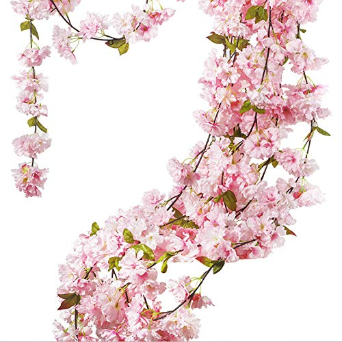 Aisamco 2 Pack Artificial Cherry Blossom Garland Hanging Vine Fake Flowers Silk Garland 70.8R ...