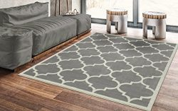 Silk Road Concepts Collection Grey Moroccan Trellis Design Area Rug, 5'3″ x 7′ ...