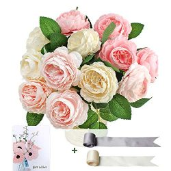 SnailGarden 12 Head Artificial Peony Flowers , 3 Colors, Silk Peony Pink with 2Pcs Satin Ribbon  ...