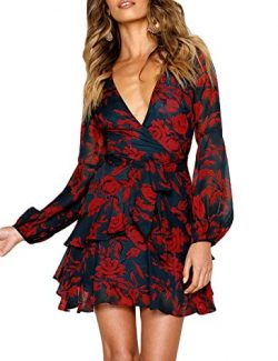 uguest Women Long Sleeve V Neck Dress Floral Mini Swing Party Wedding Dress with Belt Charcoal Red S