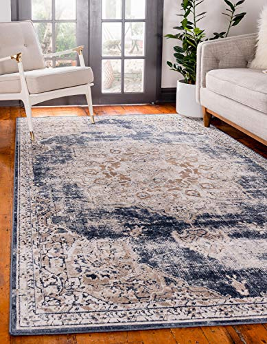 Unique Loom Chateau Collection Distressed Vintage Traditional Textured Dark Blue Area Rug (8R ...