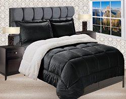 Elegant Comfort Premium Quality Heavy Weight Micromink Sherpa-Backing Reversible Down Alternativ ...
