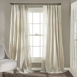 Lush Decor Rosalie Window Curtains Panel Set for Living, Dining Room, Bedroom (Pair), 95″  ...