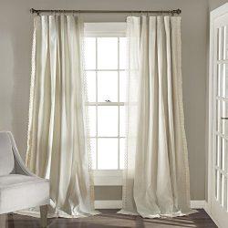 Lush Decor Rosalie Window Curtains Panel Set for Living, Dining Room, Bedroom (Pair), 95″  ...