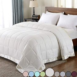 downluxe Lightweight Down Alternative Blanket with Satin Trim,King, Ivory, 90 X 108 Inch
