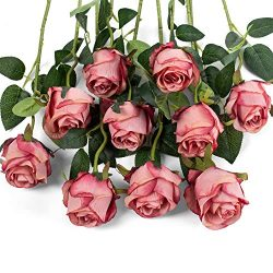 LuLuHouse Silk Rose Flower Artificial Roses with Long Stems for DIY Wedding Bouquets Centerpiece ...
