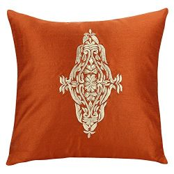 The White Petals Damask Throw Pillow Cover – Rust Gold Decorative Pillow Cover – Emb ...