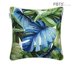 FBTS Prime Throw Pillow Covers 18×18 Inch Alternative Silk Broad Leaves Pattern Decorative  ...