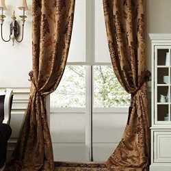 IYUEGO Luxury European Style Jacquard Silky Heavy Fabric Grommet Top Lining Blackout Curtains Dr ...