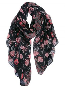 GERINLY Scarves for Women Bright Florals Fashion Head Scarf Cotton Wraps and Shawls (Black Red)