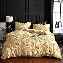Erosebridal Champagne Pintuck Duvet Cover Set King Silk Like Satin Pinch Pleated Bedding Set wit ...