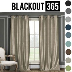 BLACKOUT365 100% Blackout Faux Silk Foamback Room Darkening Grommet Top Window Curtains Pair Pan ...