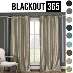 BLACKOUT365 100% Blackout Faux Silk Foamback Room Darkening Grommet Top Window Curtains Pair Pan ...
