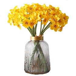 UUPP Artificial Daffodils Flowers 15.8 Inches Spring Flower Fake Silk Flower Arrangement for Hom ...