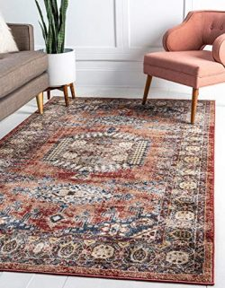 Unique Loom Utopia Collection Traditional Geometric Tribal Warm Tones Terracotta Area Rug (8R ...