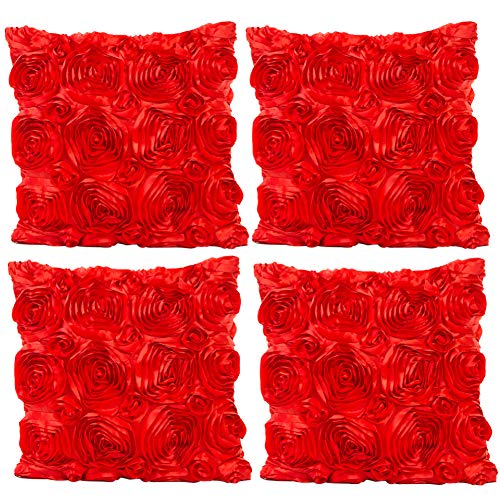 JOTOM Throw Pillow Covers for Sofa Bed Cushion,3D Solid Color Silks Satins Rose Flower Romantic  ...