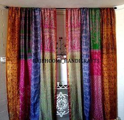 2 Pieces of Indian Vintage Old Silk Sari Multi Color Handmade Patchwork Curtain Door Drape Windo ...