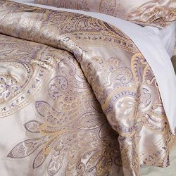 Luxurious Duvet Cover Sets Cotton Rich Silky Woven Jacquard Breathable Stain and Fade Resistant  ...