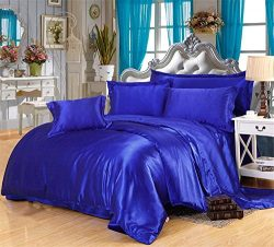Divine Bedding 5Pc Silk Satin Comforter Set 1-Piece Quilted Box Stitching Comforter with 4 Pillo ...