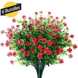 GREENRAIN 6 Bundles Artificial Flowers Outdoor Fake Flowers for Decoration UV Resistant No Fade  ...