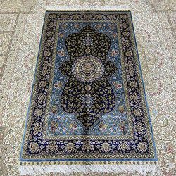 Persian Silk Rug 3'x5′ Solid Blue Oriental Handmade Traditional Medallion Area Rug S ...