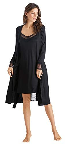HANRO Women's Amanda Robe, Black, Large