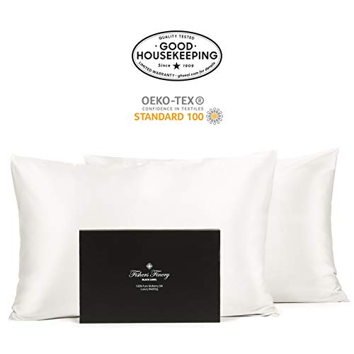 Fishers Finery 30mm 100% Pure Mulberry Silk Pillowcase 2 Pack Good Housekeeping Quality Tested ( ...